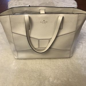 ♠️ Kate Spade Large White Leather Tote Summer Bag